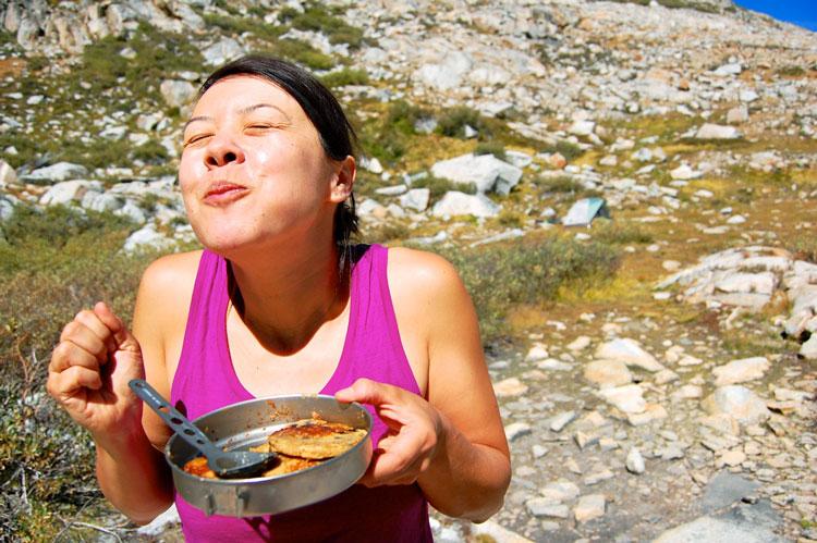 Blueberry Cornmeal Pancakes happy dance