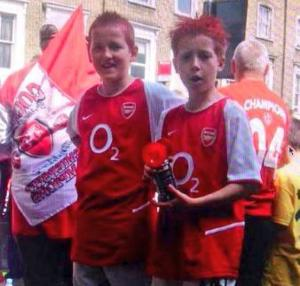 """Harry Kane"" (left) at the Invincables parade, 2004."