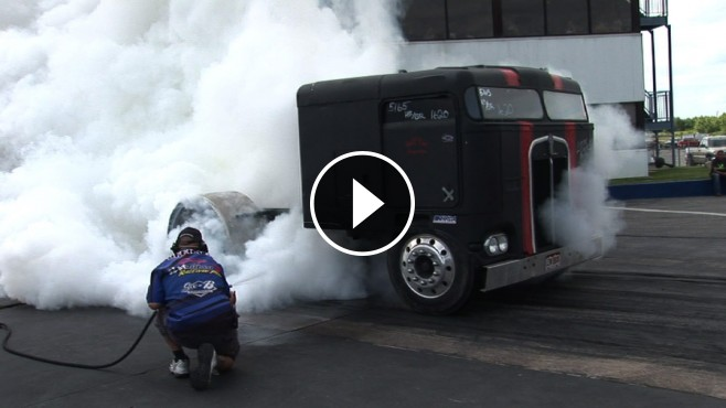 Absolute Badass Chop Top Semi Truck Doing Insane Burnouts