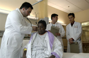 a doctor examining his patient at a hospital
