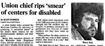 In Newspaper Article: union chief rips 'smear' of centers for disabled