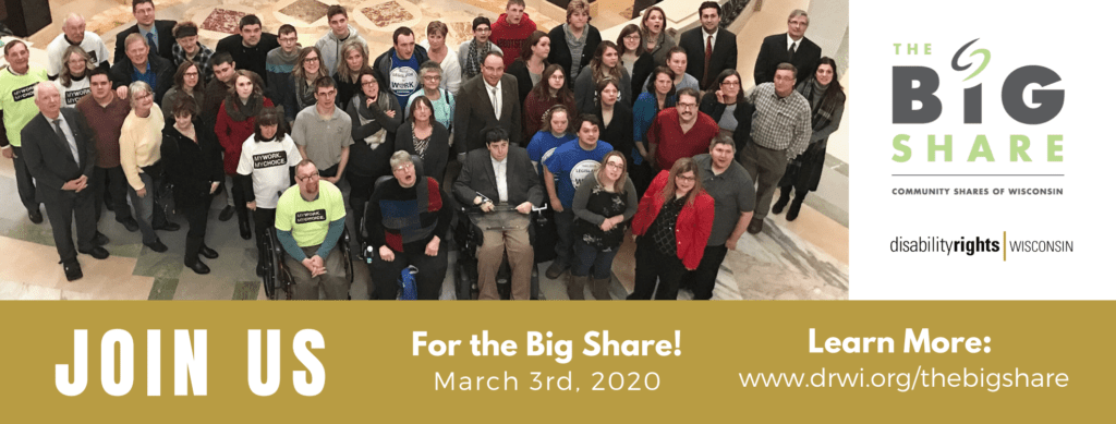Join DRW for the Big Share! March 3rd 2020. People standing at the capital looking up.