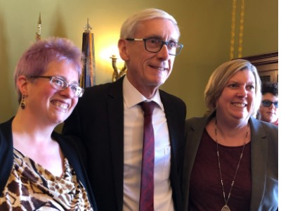 Governor Evers, Joanne Johnke and Sally Flaschberger