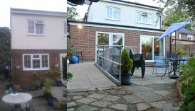 Disabled Design This before and after set shows the extension with new wheelchair ramp.