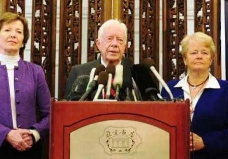 "Jimmy Carter and ""the elders"" curse Israel. Left Mary Robinson, and former Norwegian PM Gro Harlem Brundtland."