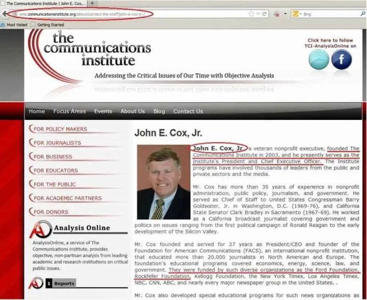 John E Cox - The Communications Institute