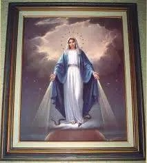 Mary standing on earth