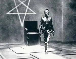 Satanic robot with inverted pentagram in the back