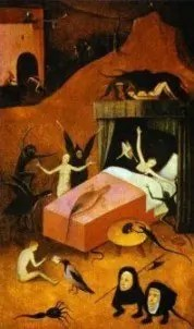 Death of the Reprobate – oil on panel painting by Hieronymus Bosch