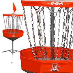 The Mach Lite portable disc golf basket is compact, light weight and made with high quality materials. The DGA Mach Lite™ is a full size collapsible disc golf target that has a folding upper chain assembly, folding basket assembly and folding support base. The basket comes with a carrying bag for easy carrying and for compact storing when not in use.
