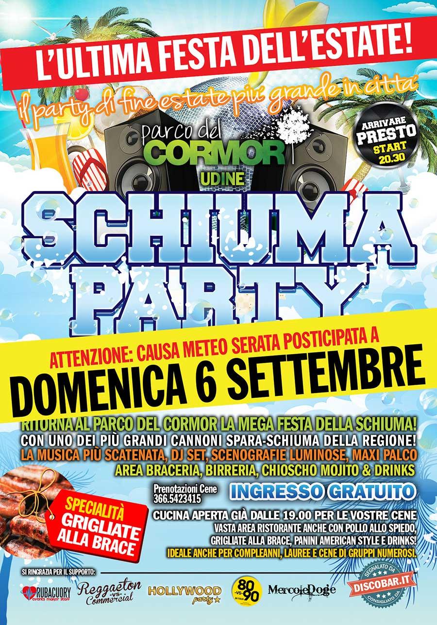 Schiuma Party spostato a Domenica 6 Settembre / Parco del Cormor