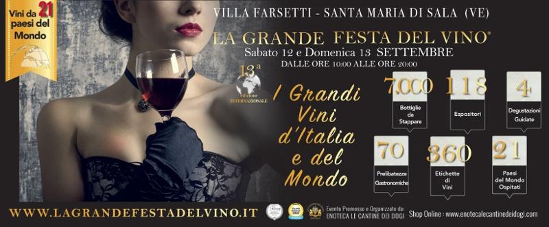 La Grande Festa del Vino 13° Edizione  12 – 13 Settembre 2020 Santa Maria di Sala, Venezia