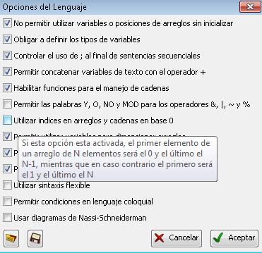 opciones lenguajes