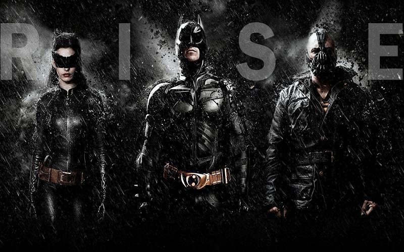 Locandina Il cavaliere Oscuro il ritorno con batman, bane e catwoman
