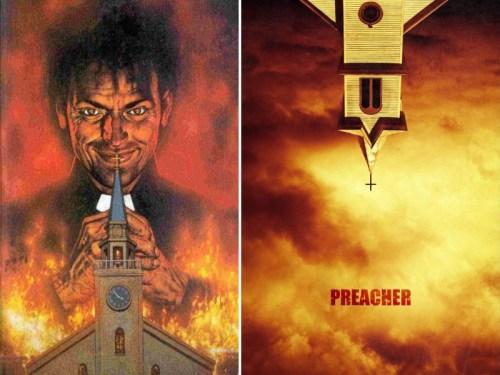 A sinistra la cover di Preacher n. 1 (Credits: DC Comics), a destra la locandina della serie Preacher (Credits: AMC/Amazon Prime)