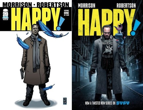 A sinistra la cover di Happy! 1 (Credits: Image Comics), a destra la locandina della serie (Credits: Syfy/Netflix)