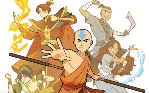 Aang e il resto dei personaggi di Avatar - La promessa, graphic novel edita da Tunué