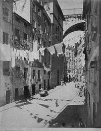 Immagine fotografica della antica Via Madre di Dio e del ponte di Carignano