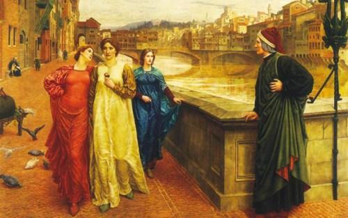 Dante vede Beatrice in compagnia di amiche per le strade di Firenze