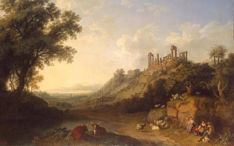 Una veduta della Valle dei Templi in un dipinto di Jacob Philipp Hackert