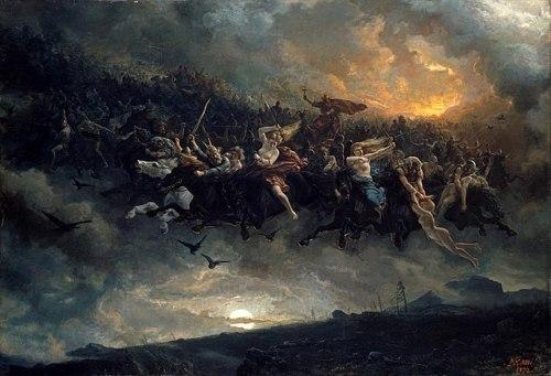 La Caccia selvaggia nella visione del pittore norvegese Peter Nicolai Arbo, datata 1872 ed esposta alla Galleria nazionale di Oslo