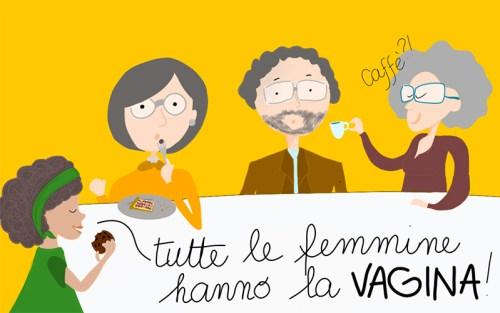 """""""Tutte le femmine hanno la vagina"""", dice la piccola, scandalizzando la tavolata dei parenti (illustrazione di Carola Astuni)"""