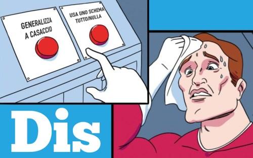 Due delle principali distorsioni cognitive in un meme