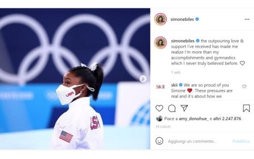 Il post su instagram di Simone Biles