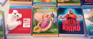 ZOOTOPIA –Easter Eggs: Weaselton Bootleg DVDs of PIG HERO 6, WRANGLED, WRECK-IT RHINO. ©2016 Disney. All Rights Reserved.