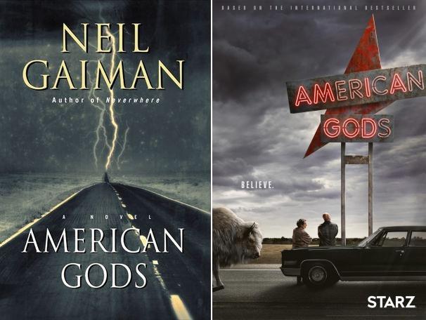 A sinistra il romanzo American Gods (Credits: HarperCollins), a destra la serie (Credits: Amazon Prime)