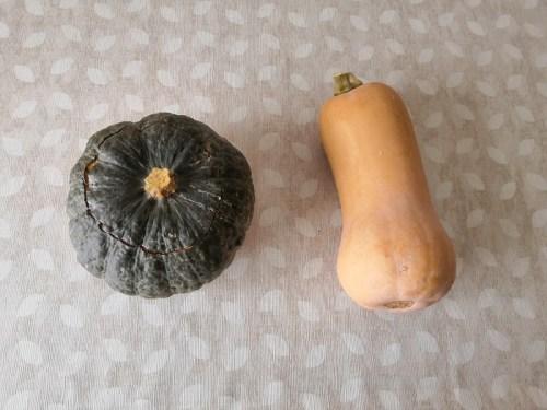 nell'immagine troviamo due zucche: la zucca butternut e la zucca delica che cucineremo per la cena di Halloween