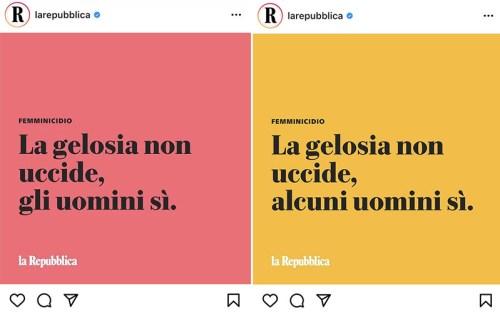 Prima e dopo: un confronto tra i due post di Instagram di Repubblica, che hanno scatenato i sostenitori del #NotAllMen