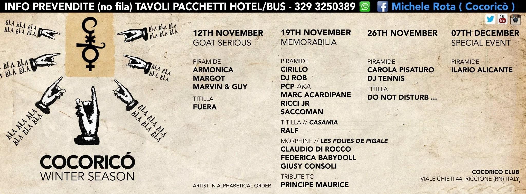 Sabato 26 NOVEMBRE 2016 COCORICO DJ TENNIS PREZZI PREVENDITE BIGLIETTI TAVOLI HOTEL + PULLMAN
