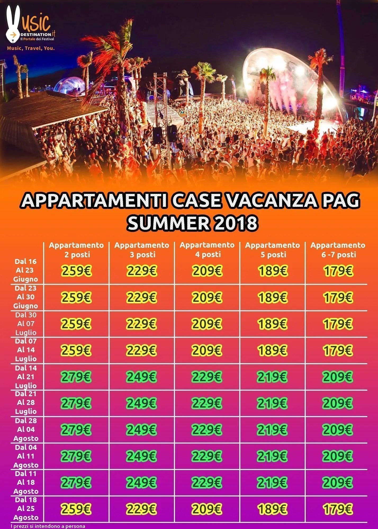 appartamenti pag estate 2018