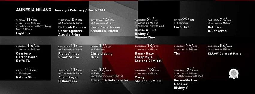 AMNESIA MILANO GUTI 28 01 2017 Prezzi PREVENDITE PACCHETTI Hotel Bus
