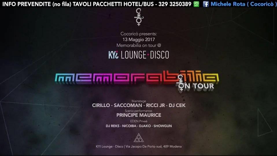 MEMORABILIA ON TOUR KYI MODENA 13 MAGGIO 2017