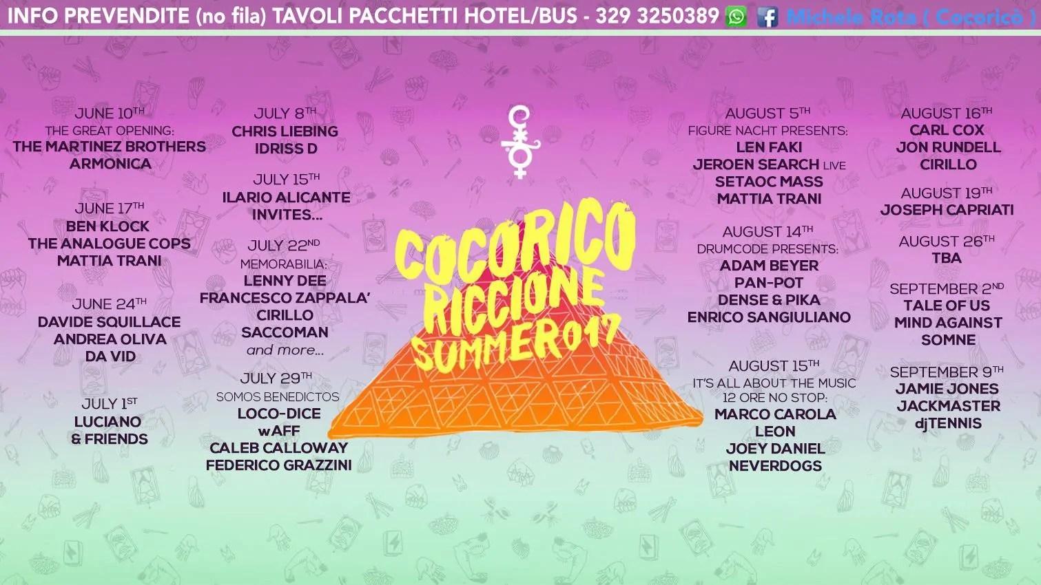 22 07 2017 MEMORABILIA AT COCORICÒ RICCIONE PREVENDITE + TICKET + TAVOLI + PACCHETTI HOTEL