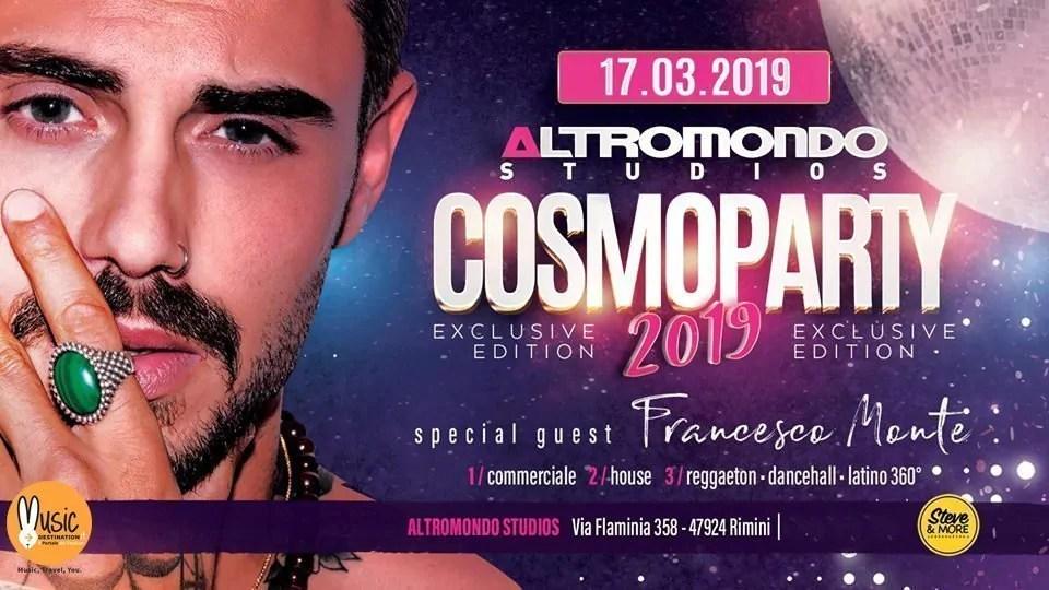 Cosmoprof 2019 Party Altromondo Studios con Francesco Monte – Domenica 17 Marzo 2019 | Ticket Tavoli Pacchetti hotel Prevendite