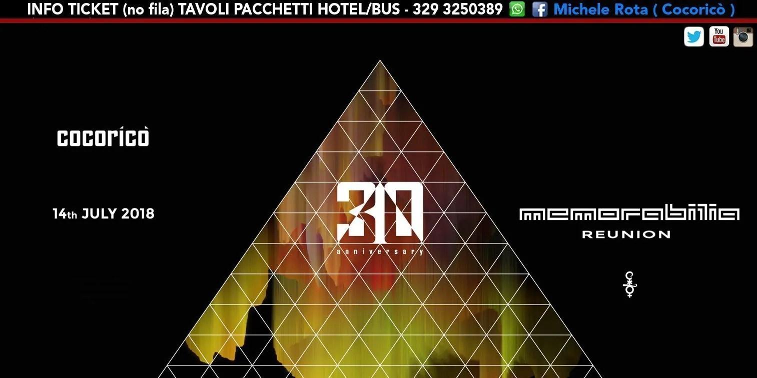 Memorabilia Reunion al Cocoricò Riccione – Sabato 14 Luglio 2018 | Ticket Tavoli Pacchetti hotel Prevendite