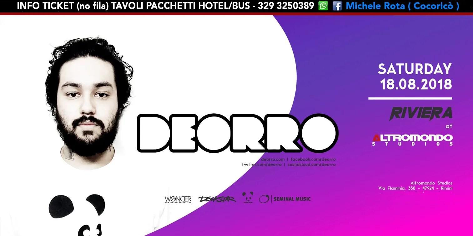 DEORRO all' Altromondo Studios Rimini – Sabato 18 AGOSTO 2018 | Ticket Tavoli Pacchetti hotel Prevendite