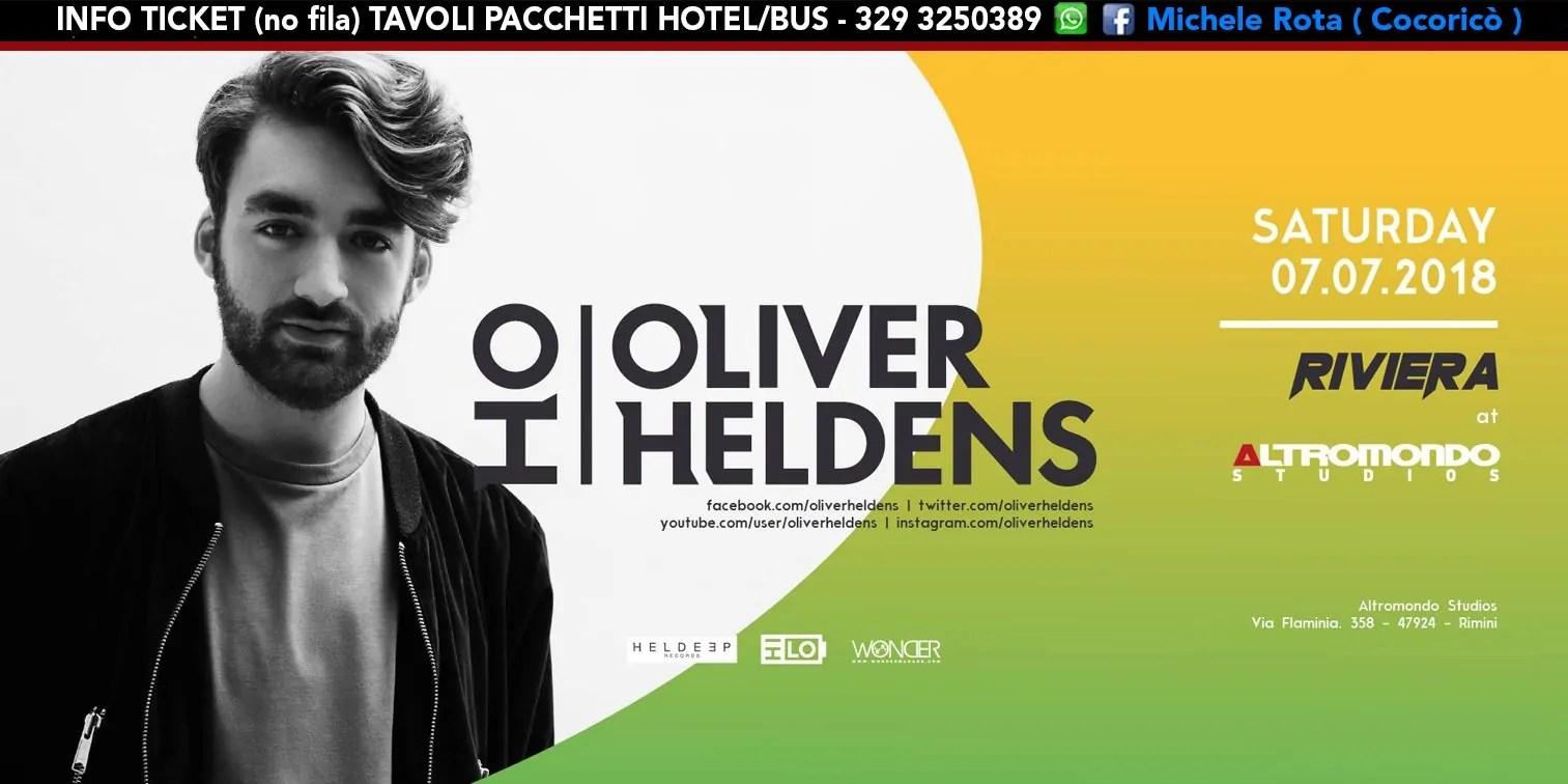 OLIVER HELDENS all' Altromondo Studios Rimini – Sabato 07 Luglio 2018 Altromondo | Ticket Online Tavoli Pacchetti hotel Prevendite