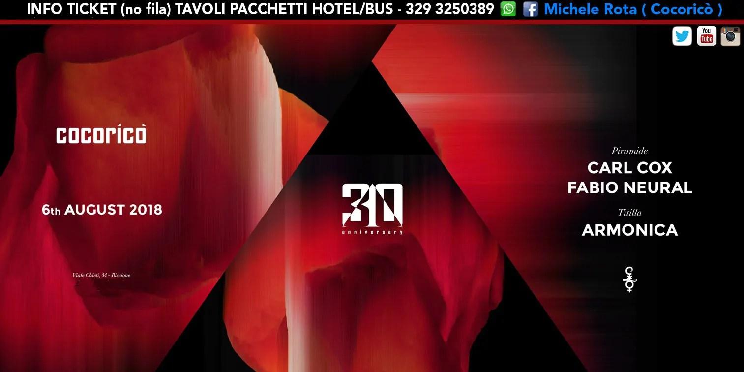 Carl Cox Cocorico 06 Agosto 2018 Ticket Tavoli Pacchetti Hotel