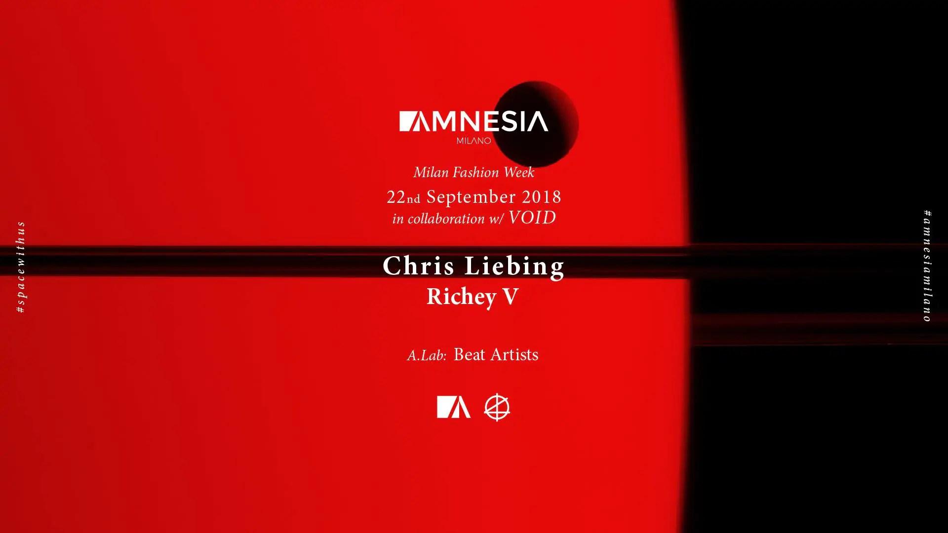 Chris Leibing Amnesia Milano 22 09 2018 | Ticket in Prevendita – Tavoli – Pacchetti Hotel