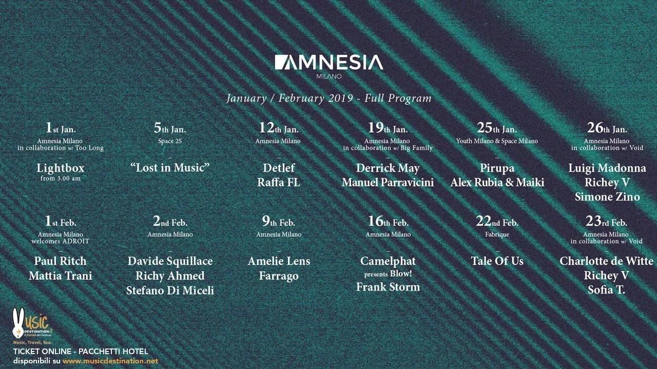 Amnesia Milano Amelie Lens Sabato 09 Febbraio 2019 | Ticket in Prevendita – Tavoli – Pacchetti Hotel