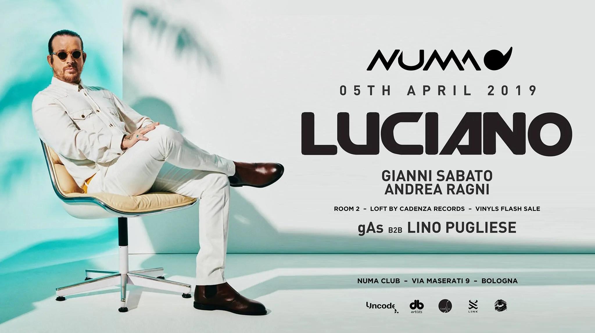 Numa Club Bologna LUCIANO – Venerdì 05 Aprile 2019 | Ticket Biglietti 18APP Tavoli Pacchetti hotel Prevendite