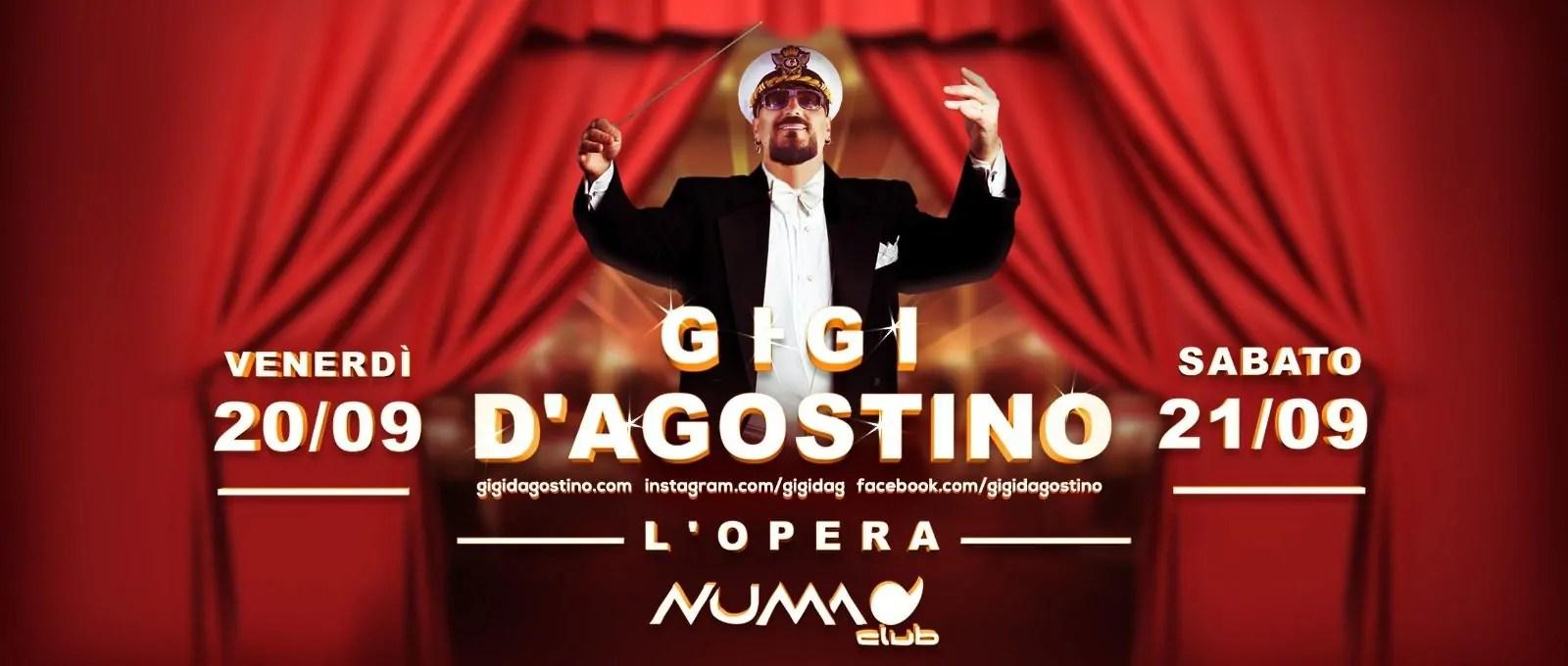 Numa Club Bologna GIGI D'AGOSTINO –  20 e 21 Settembre 2019 | Ticket Biglietti 18APP Tavoli Pacchetti hotel Prevendite