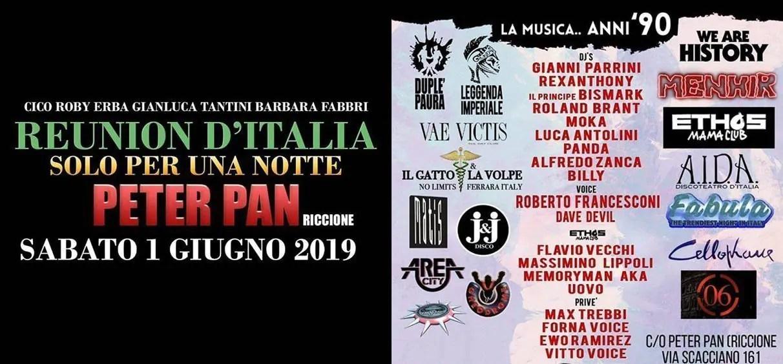 Reunion Peter Pan Riccione 01 Giugno 2019 + Prezzi Ticket in Prevendita Biglietti Tavoli Liste Pacchetti Hotel