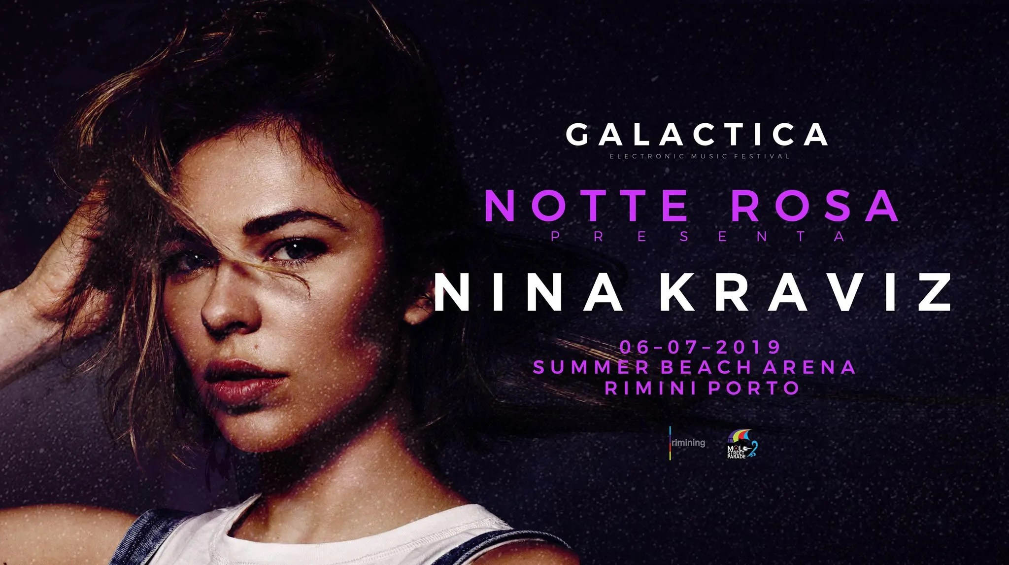 Nina Kraviz Rimini Galactica Summer Beach Arena 06 Luglio 2019 Notte Rosa Ticket/Biglietti/Prevendite 18APP Tavoli Pacchetti hotel Prevendite