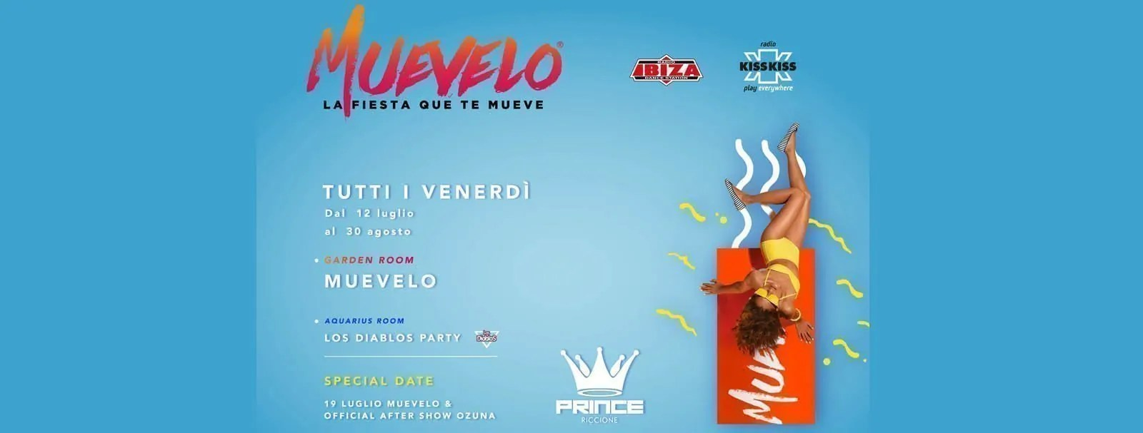 Prince Riccione Muevelo Venerdì 26 Luglio 2019 + Prezzi Ticket/Biglietti/Prevendite 18APP Tavoli Pacchetti hotel