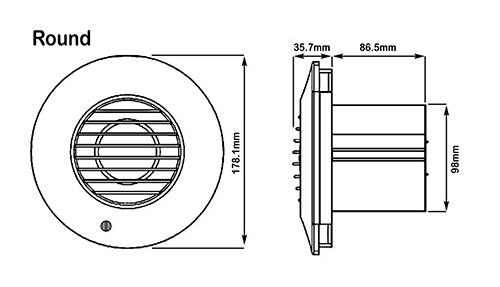 Xpelair 93006AW Simply Silent DX100TR White Round Dual